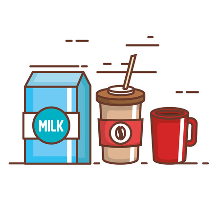 Delicious coffee drink with milk box.