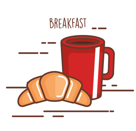 Delicious coffee drink with croissant vector illustration. Illustration