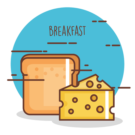 Delicious cheese and bread vector illustration. Ilustrace