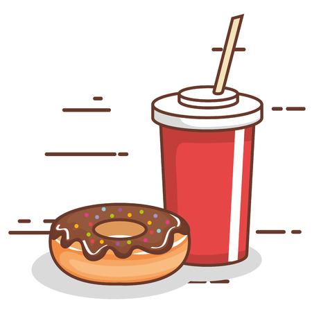달콤한 도넛 소다 컵입니다.