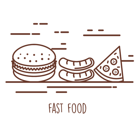 Delicious fast food icons vector.