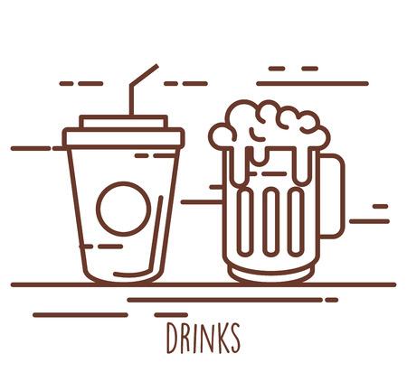 ビール入りソーダカップ。  イラスト・ベクター素材
