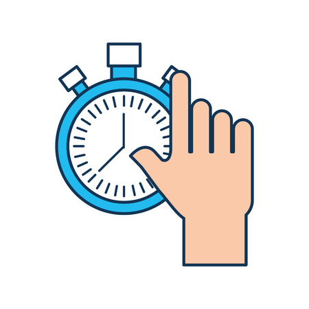 hand holding chronometer control countdown image vector illustration
