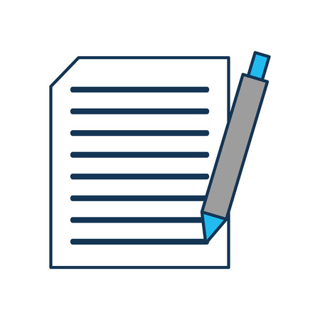 sheet of paper with text and pen document writing contract vector illustration Ilustração