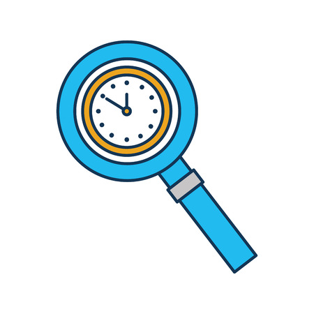 magnifying glass with clock handle equipment vector illustration Ilustrace
