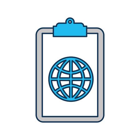 Presse-papiers avec connexion globale réseau image illustration vectorielle Banque d'images - 85283733