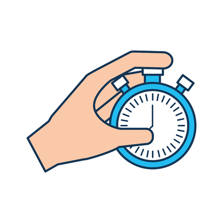 hand holding finger on stopwatch with seconds arrow vector illustration Illustration