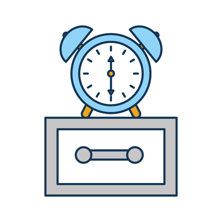 alarm clock on bedside table alert morning vector illustration