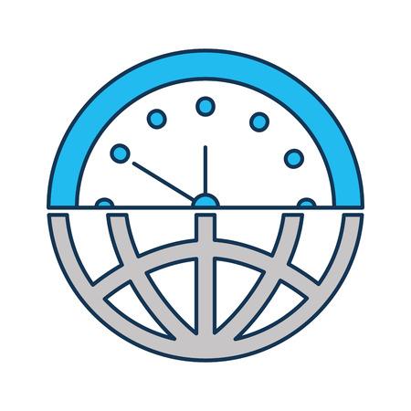half globe plus half clock meaning time management vector illustration