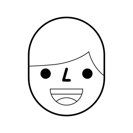 happy boy face expression facial character vector illustration