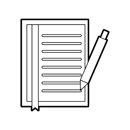 document sheet bookmark and pen office object vector illustration