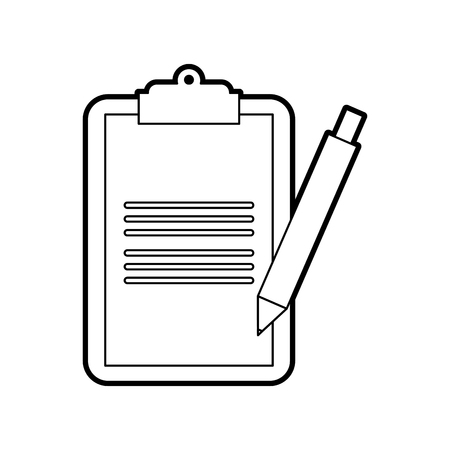 clipboard checklist with write pen work element vector illustration Иллюстрация