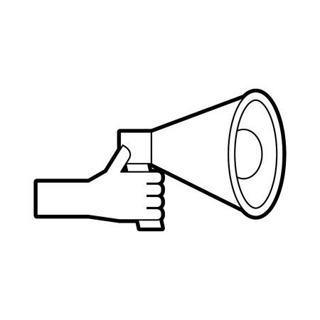 hand holding megaphone advertising work volume vector illustration 向量圖像