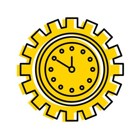 기어 내부 비즈니스 시간 작업 개념 벡터 일러스트 안에 시계