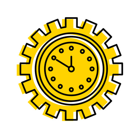clock inside gear business time work concept vector illustration