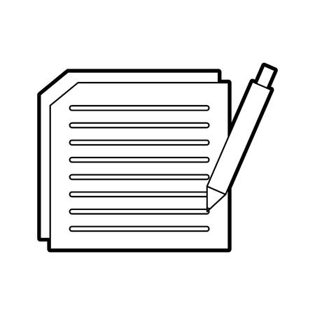 vel papier met tekst en pen document schrijven contract vectorillustratie Stock Illustratie