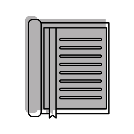 notebook with bookmark stationery office object element vector illustration