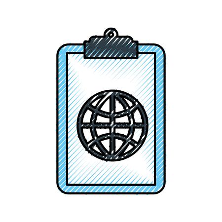 Presse-papiers avec connexion globale réseau image illustration vectorielle Banque d'images - 85284201