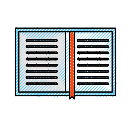 overhead view of a book personal organiser planner bookmark vector illustration Illustration