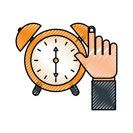 business hand clock alarm device icon vector illustration 向量圖像