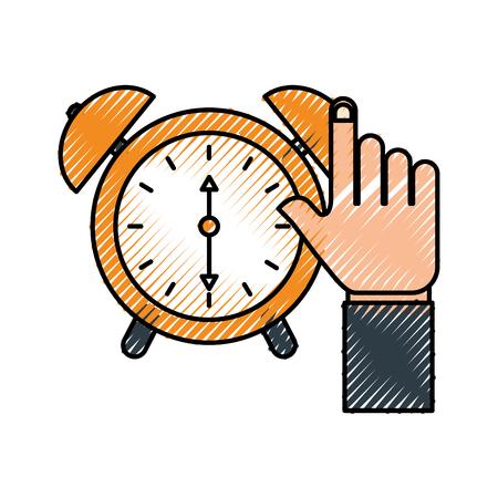 business hand clock alarm device icon vector illustration Illustration
