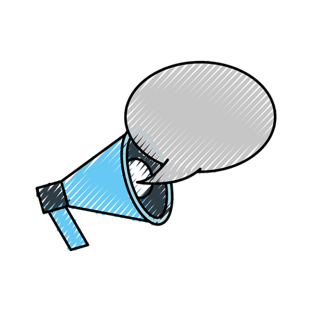 announcement megaphone bubble speak broadcast vector illustration
