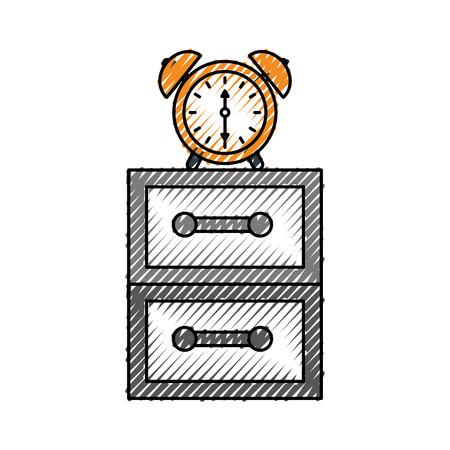 ベッドサイドテーブルアラート朝ベクトルイラストの目覚まし時計  イラスト・ベクター素材