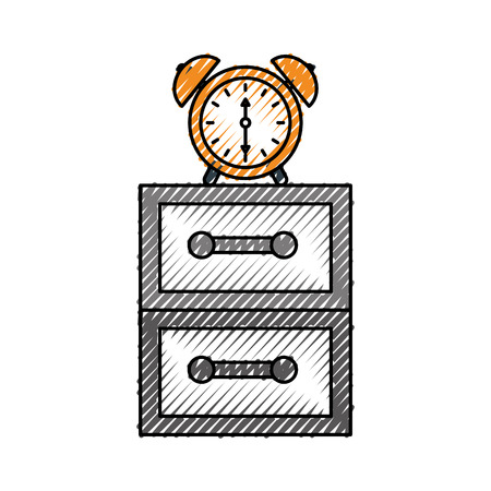 alarm clock on bedside table alert morning vector illustration Stock Vector - 85284378