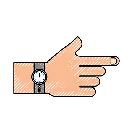 hand with watch time accessory fashion vector illustration Stock Vector - 85284380