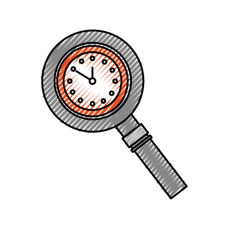 magnifying glass with clock handle equipment vector illustration Çizim
