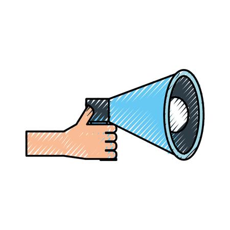 hand holding megaphone advertising work volume vector illustration Illustration