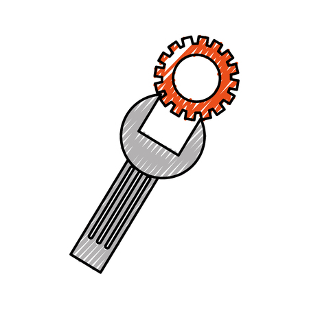 ondersteuning concept reparatie sleutel met schroef vectorillustratie