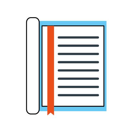 しおり付きノートブック文房具オフィスオブジェクト要素ベクトルイラスト