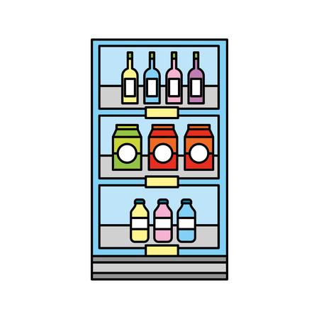 슈퍼마켓 식료품 및 저장소 음료 병 및 상자 벡터 일러스트 레이 션 일러스트