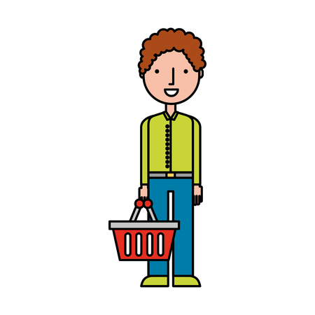 character with shopping basket standing on white background vector illustration