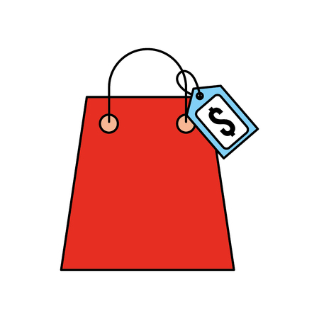 paper shopping bag with paper handles and tag vector illustration