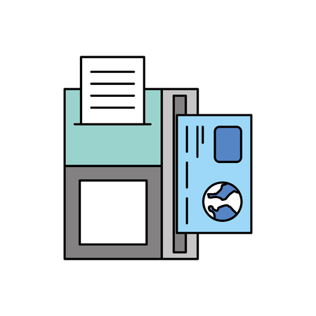dataphone credit card transaction payment icon vector illustration