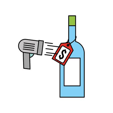 価格タグとスキャンコードベクトルのイラストとワインボトルガラス 写真素材 - 85288245
