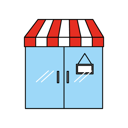 facade door store grocery glass board vector illustration Ilustração