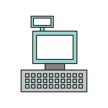 cash register machine keypad display for supermarket vector illustration