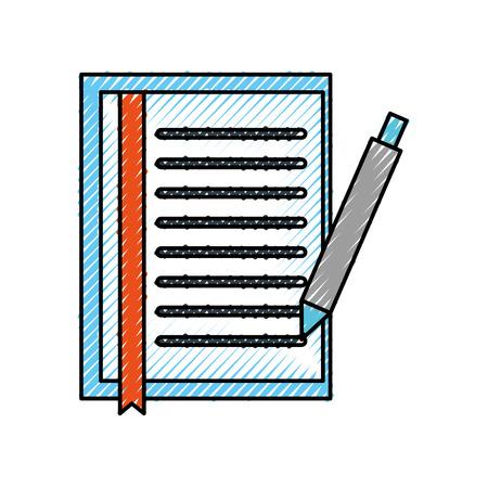 ドキュメントシートブックマークとペンオフィスオブジェクトベクトルイラスト  イラスト・ベクター素材