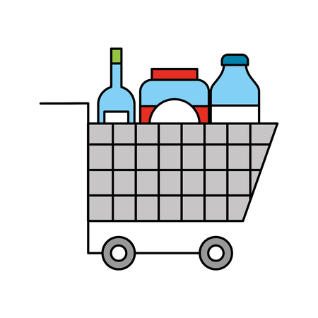 cart shopping supermarket bottle glass drink vector illustration Illustration