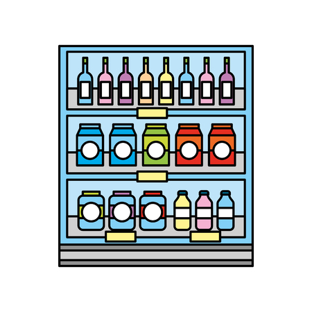 Drogheria supermercato e negozio bevande bottiglie e scatole illustrazione vettoriale Archivio Fotografico - 85285201