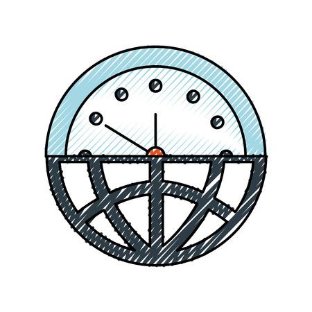 ハーフグローブ + ハーフクロック意味時間管理ベクトルイラスト