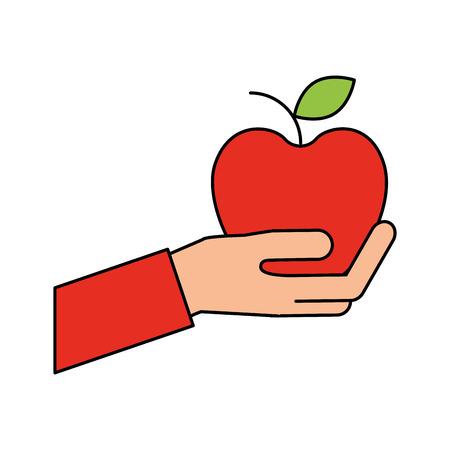 hand holding apple fruit fresh shop market vector illustration
