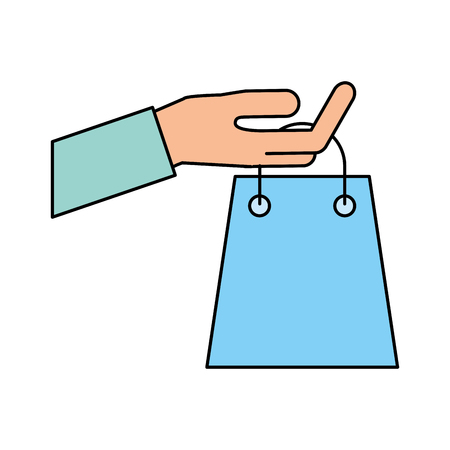 main tenant le sac de papier sac shopping concept illustration vectorielle