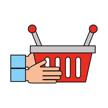 hand holding basket shopping empty vector illustration Stock fotó - 85288593