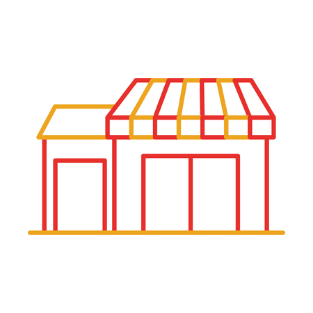 small business: store grocery shop building exterior facade isolated on white background vector illustration