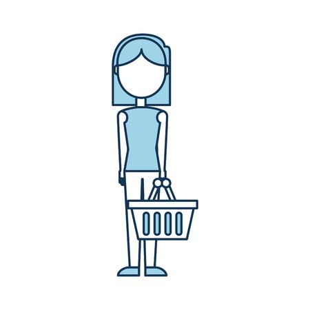 Femme avec chariot à vide vide à supermarché illustration vectorielle Banque d'images - 85285213