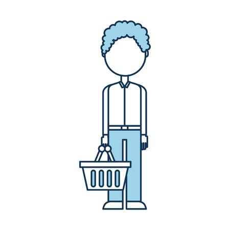 Personaje con cesta de compras de pie en la ilustración de vector de fondo blanco Foto de archivo - 85285215